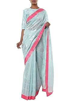 Ice blue half and half printed saree with blouse piece by Masaba