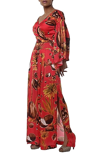 Red printed shirt with pants by Masaba