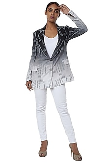 White and black ombre printed blazer by Masaba