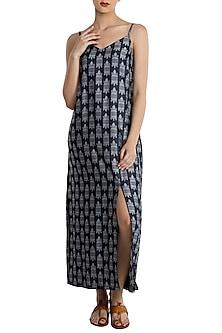 Blue printed maxi slip dress by Masaba