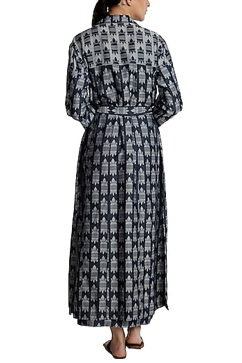 Blue printed trench coat by Masaba