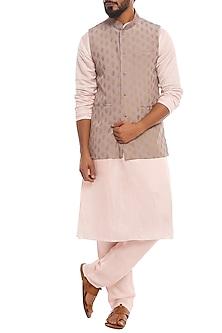 Baby Pink Kalash Bandi Jacket With Kurta & Pants by Masaba Men