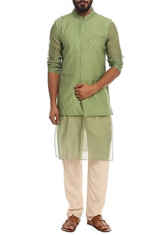 Mint Green Patti Bundi Jacket With Kurta & Ivory Pants by Masaba Men