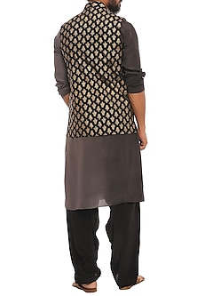 Black Kalash Khadi Bandi Jacket With Ombre Kurta & Pants by Masaba Men
