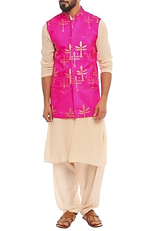 Pink Bandi Jacket With Ivory Kurta & Pants by Masaba Men