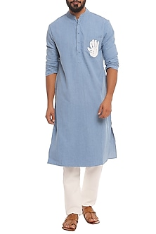 Blue Palm Printed Denim Kurta by Masaba Men