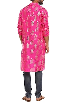 Fushia Pink Gold Tropical Banana Printed Kurta by Masaba Men