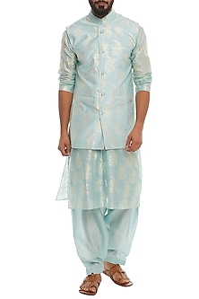 Ice Blue Banana Printed Bundi Jacket With Kurta & Pants by Masaba Men
