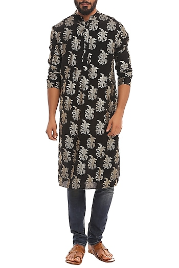 Black Tropical Banana Printed Kurta by Masaba Men