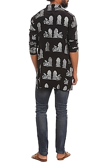 Black Silver Rabbit Printed Kurta by Masaba Men