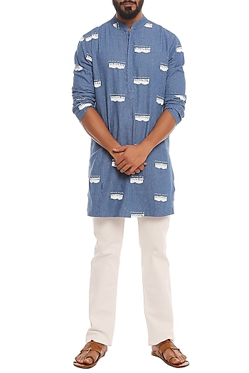 Blue Comb Printed Denim Kurta by Masaba Men
