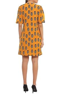 Yellow Pine Clone Printed Tie Up Mini Dress by Masaba