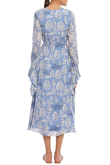 Blue Pine Forest Printed Cut Out Midi Dress by Masaba