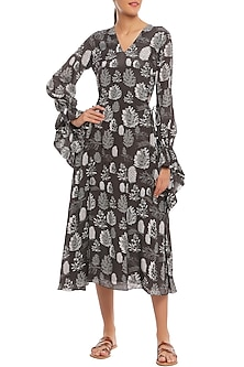 Black Pine Forest Printed Cut Out Midi Dress by Masaba