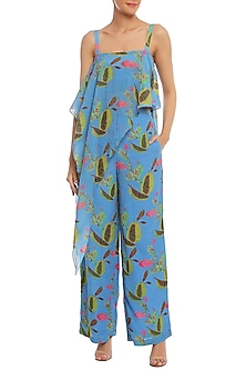 Blue Spicy Jackfruit Printed Asymmetrical Top Set by Masaba