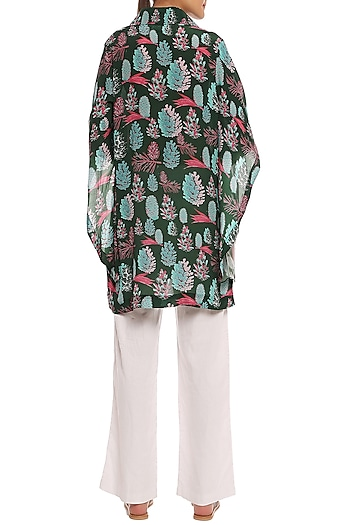 Green Pine Forest Printed Asymmetrical Sleeves Shirt by Masaba