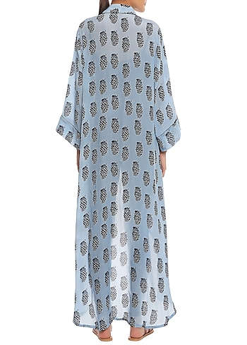 Blue Pine Clone Printed Asymmetrical Jacket by Masaba