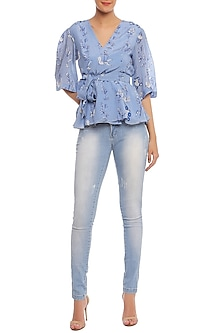Blue Prairie Pond Printed Wrap Top by Masaba