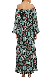 Green Pine Forest Printed Off Shoulder Dress by Masaba