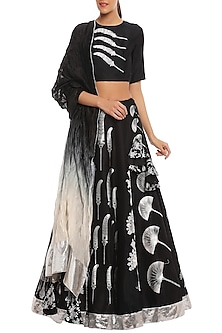 Black Egyptian Fan Multi Print & Embroidered Lehenga Set by Masaba-SHOP BY STYLE