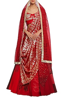 Red Scarlet Gradation Multi Print & Embroidered Lehenga Set by Masaba