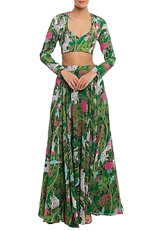 Green Basil & Unicorn Meadow Lehenga Skirt With Shrug & Bustier by Masaba