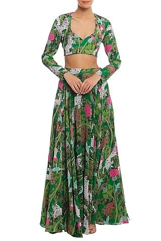 Green Basil & Unicorn Meadow Lehenga Skirt With Shrug & Bustier by Masaba