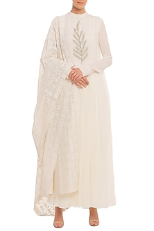 White Embroidered Anarkali Set by Masaba-Shop By Style