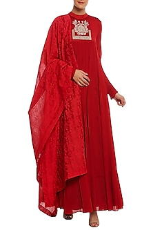 Scarlet Red Embroidered Anarkali Set by Masaba