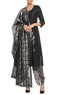 Black Blooming Garden Printed Kurta Set by Masaba