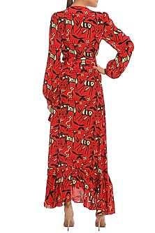 Scarlet Red Printed Wrap Dress With Bustier by Masaba