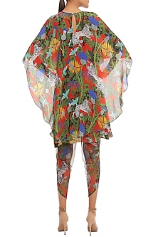 Multi Colored Unicorn Meadow Printed Tunic With Dhoti Pants & Cape by Masaba