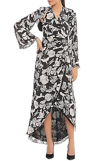 Black Animal Trance Printed Wrap Dress With Shrug by Masaba