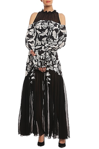 Black Animal Trance Printed Gown by Masaba