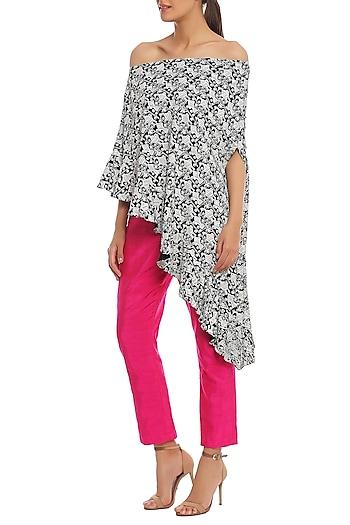 Black Bird Grid Printed Off Shoulder Top With Cabaret Pink Pants by Masaba