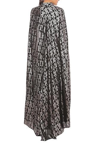 Black Printed Cape Sleeve Crop Blazer With Skirt by Masaba