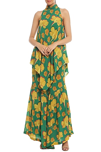 Green Basil & Crayon Flower Printed Sharara Set by Masaba