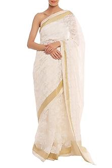 White Printed Banarasi Saree Set by Masaba