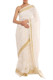 White Printed Banarasi Saree Set by Masaba