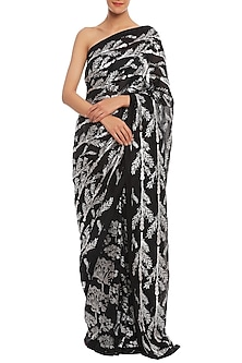 Black Printed Chanderi Saree Set by Masaba