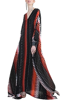 Black & Red Bleeding Swords Kaftan by Masaba X GOT
