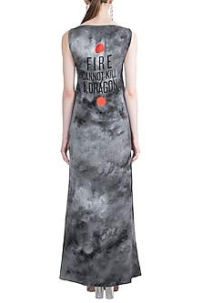 Black & Grey Smoky Fire Quote Printed Top With Skirt by Masaba X GOT