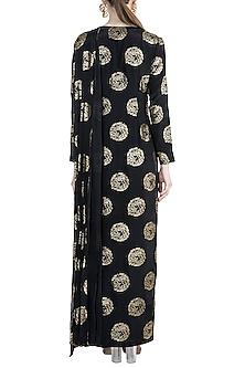 Black Targaryen Gold Sigil Gown Saree by Masaba X GOT