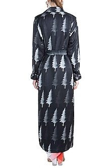 Black & Red Distressed Tree Trench Coat With Corset & Pleated Pants by Masaba X GOT