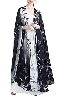 White & Black Tangled Haven Cape With Bustier & Flared Pants by Masaba X GOT