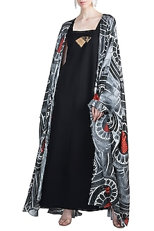 Black Wall Of Stark Cape With Gold Stark Maxi Dress by Masaba X GOT