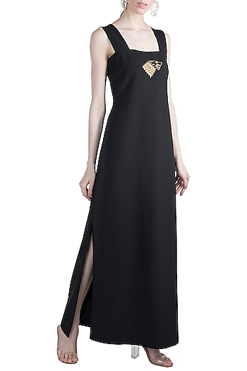 Black Gold Stark Sigil Maxi Dress by Masaba X GOT