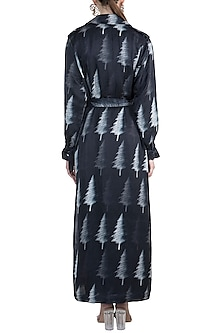 Black Distressed Tree Trench Coat by Masaba X GOT