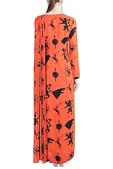 Black & Red Sigil Storm Gown Saree by Masaba X GOT