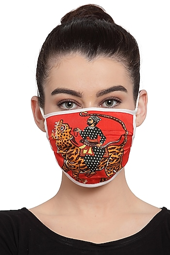 Red Reusable Unisex Mask With Red Sultan Tiger Print  by Masaba